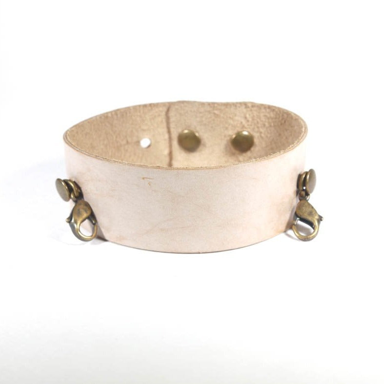 Thin Cuff, Bone - Antique Brass