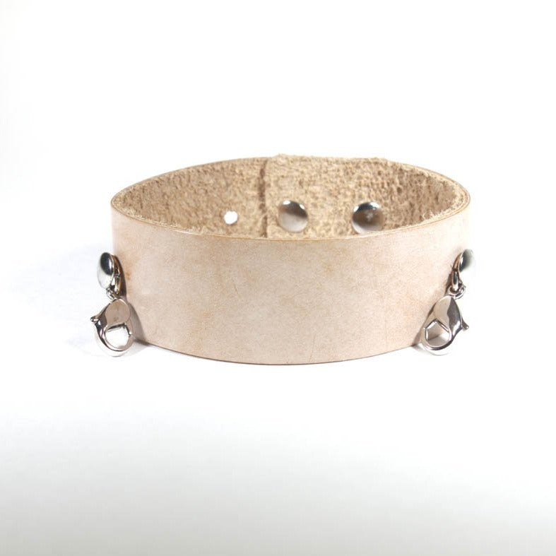 Thin Leather Cuff Bone/Silver