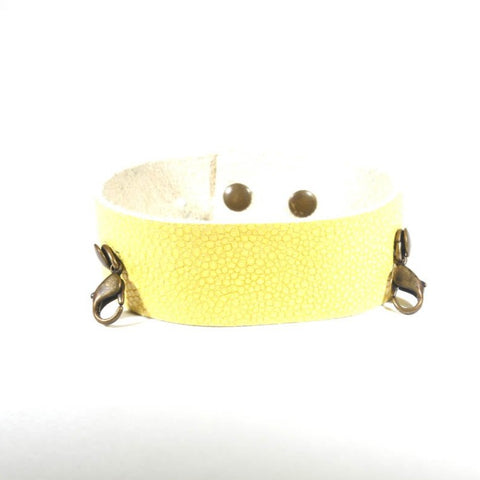 Thin Leather Cuff Lemon/Brass