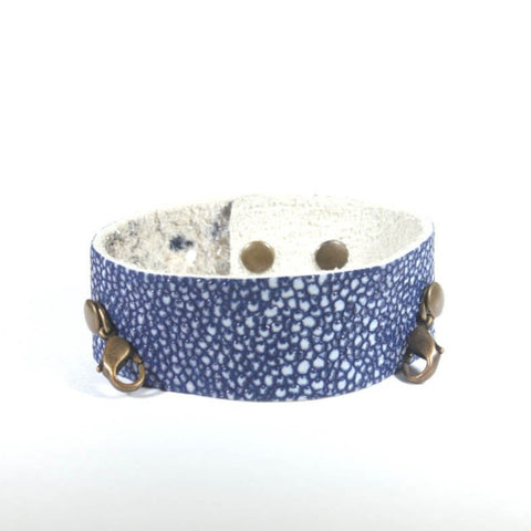 Thin Leather Cuff Denim/Brass