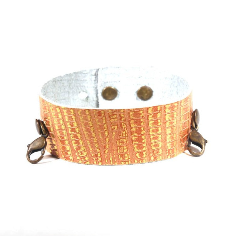 Thin Leather Cuff Exotic Gold/Brass
