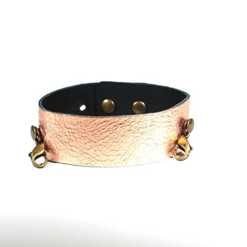 Thin Leather Cuff Rose Gold/Brass