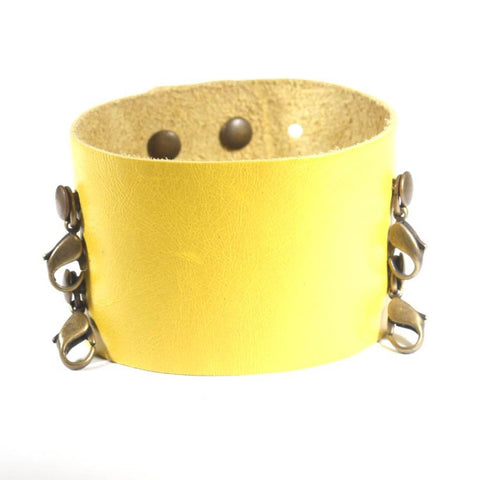 Wide Leather Cuff Citron/Brass