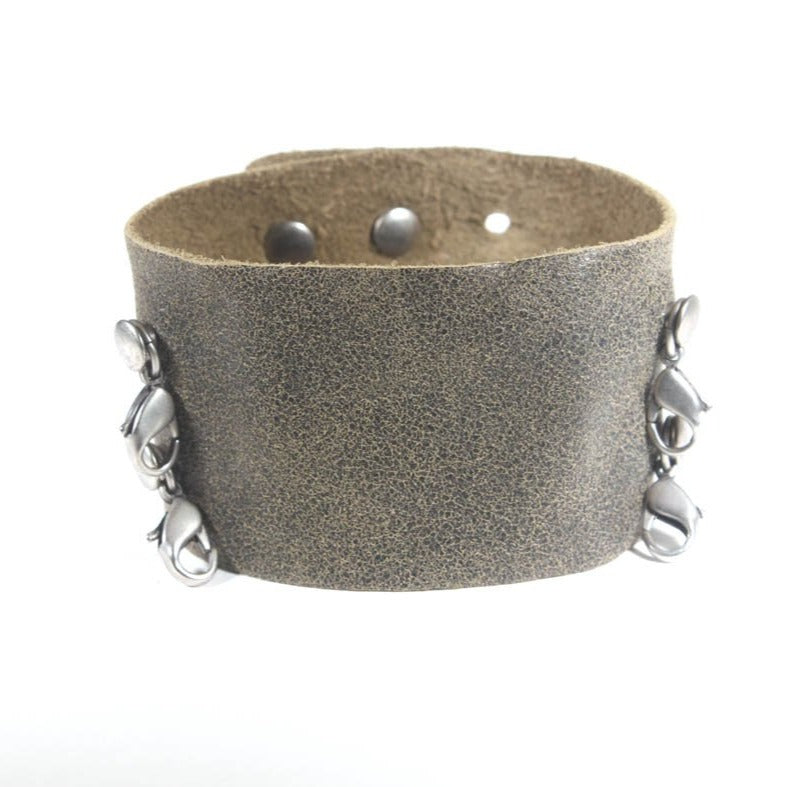 Wide Leather Cuff Olive/Silver
