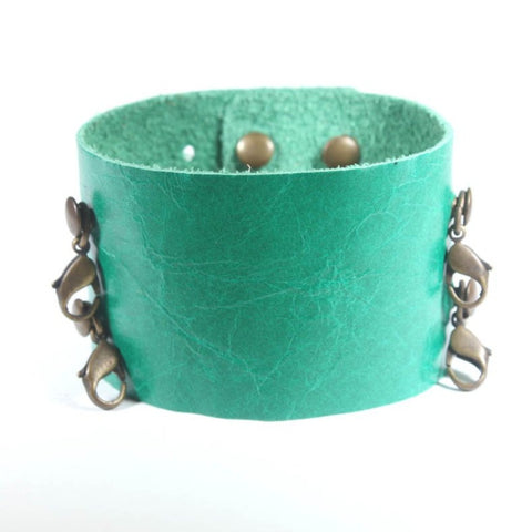 Wide Leather Cuff Shamrock/Brass