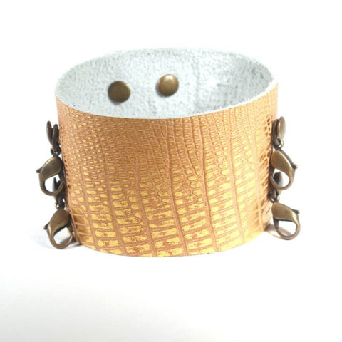 Wide leather Cuff Exotic Gold/Brass