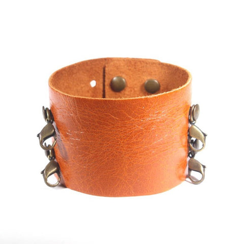 Wide Leather Cuff Mango/Brass