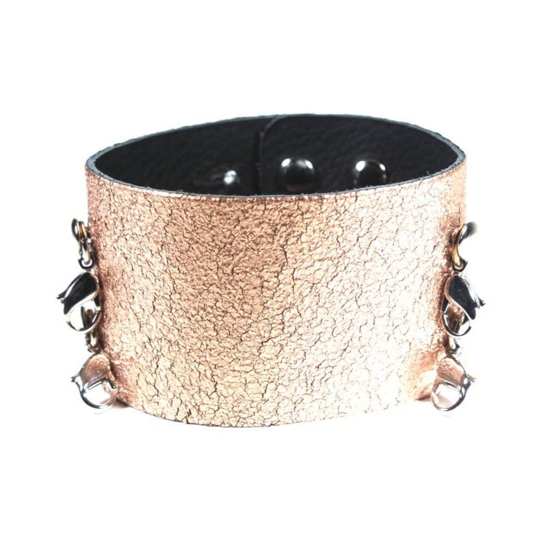 Wide Leather Cuff Rose Gold/Silver