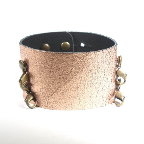 Wide Leather Cuff Rose Gold/Brass