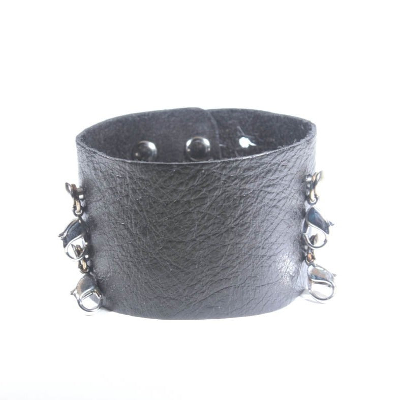 Wide Leather Cuff Black/Silver