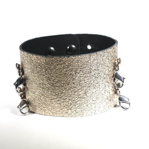 Wide Leather Cuff Gold/ Silver