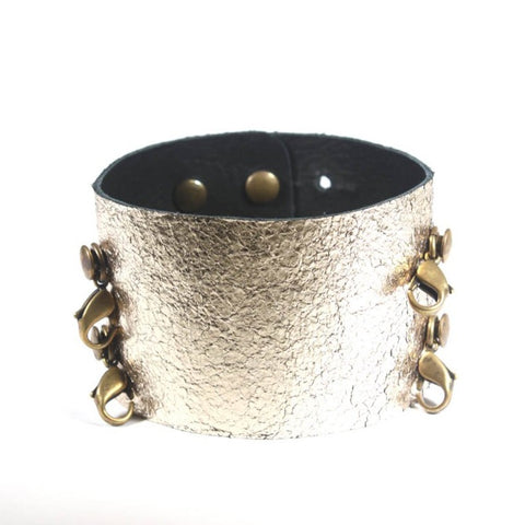 Wide Leather Cuff Gold/Brass