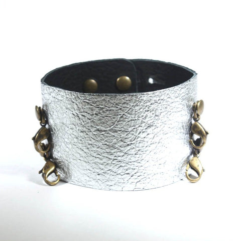 Wide Leather Cuff Gunmetal/Brass