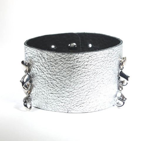Wide Leather Cuff Gunmetal/Silver