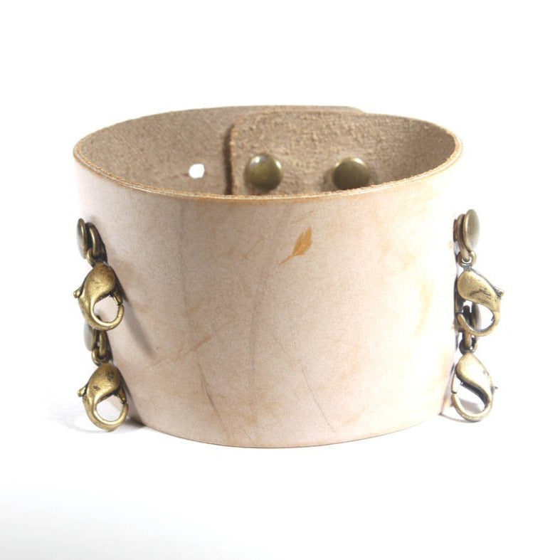 Wide Leather Cuff Bone/Brass