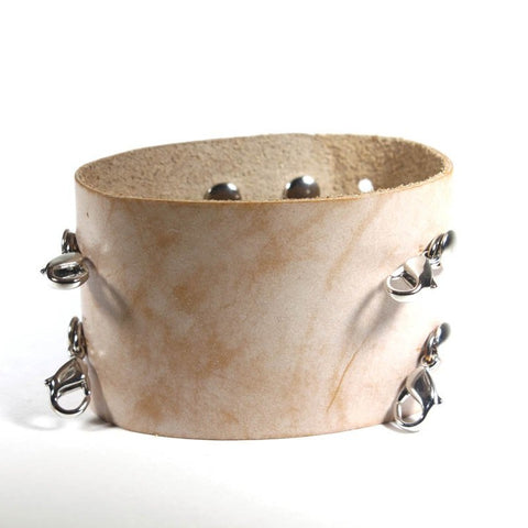 Wide Leather Cuff Bone/Silver