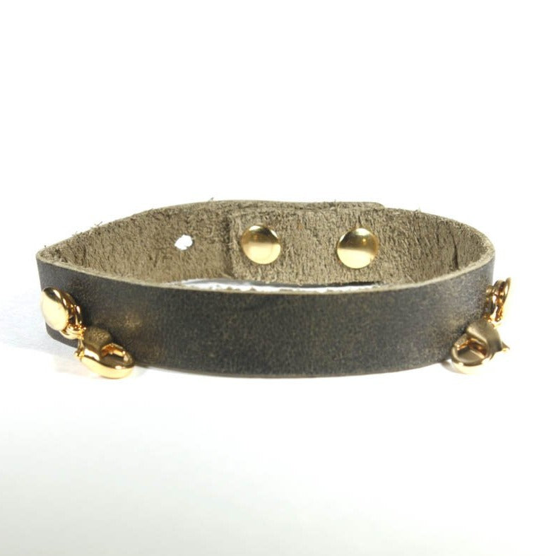 Leather Cuff - Olive - Gold