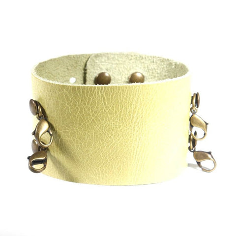 Wide Leather Cuff Celery/Brass