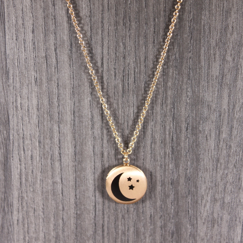 Gold Moon Locket Necklace
