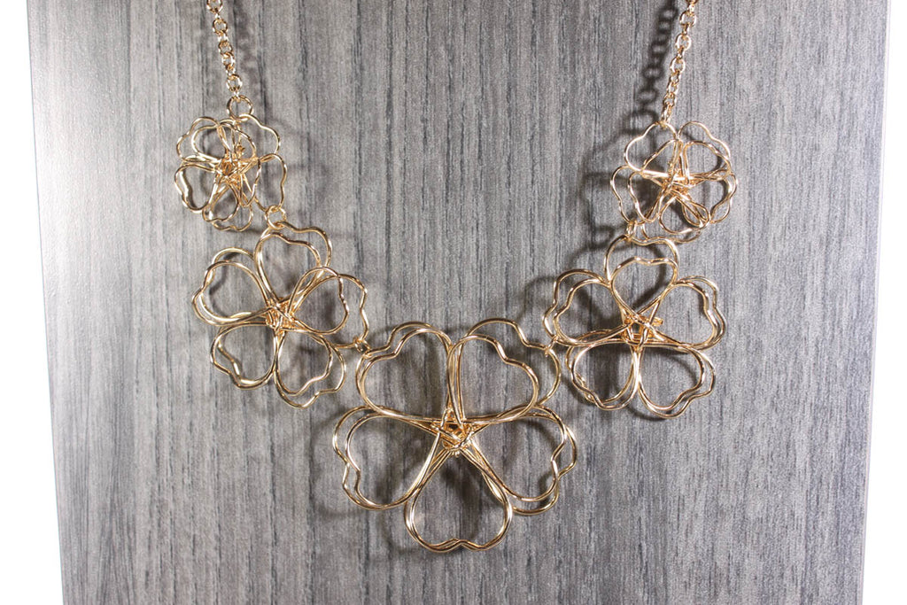 Sketchbook Style Gold Wire Flowers Necklace