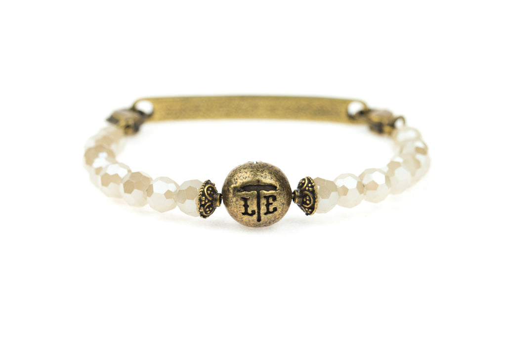 Logo Bangle White Jade - Across The Way