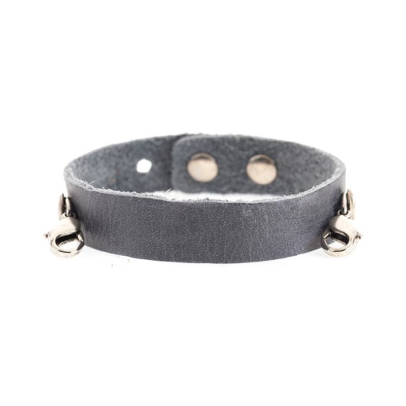Leather Cuff - Dove Grey - Silver - Across The Way