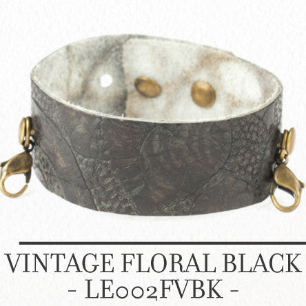 Thin Cuff Vintage Floral Black - Across The Way