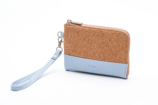 Cameron Wristlet - Smokey Blue and Cork - Across The Way