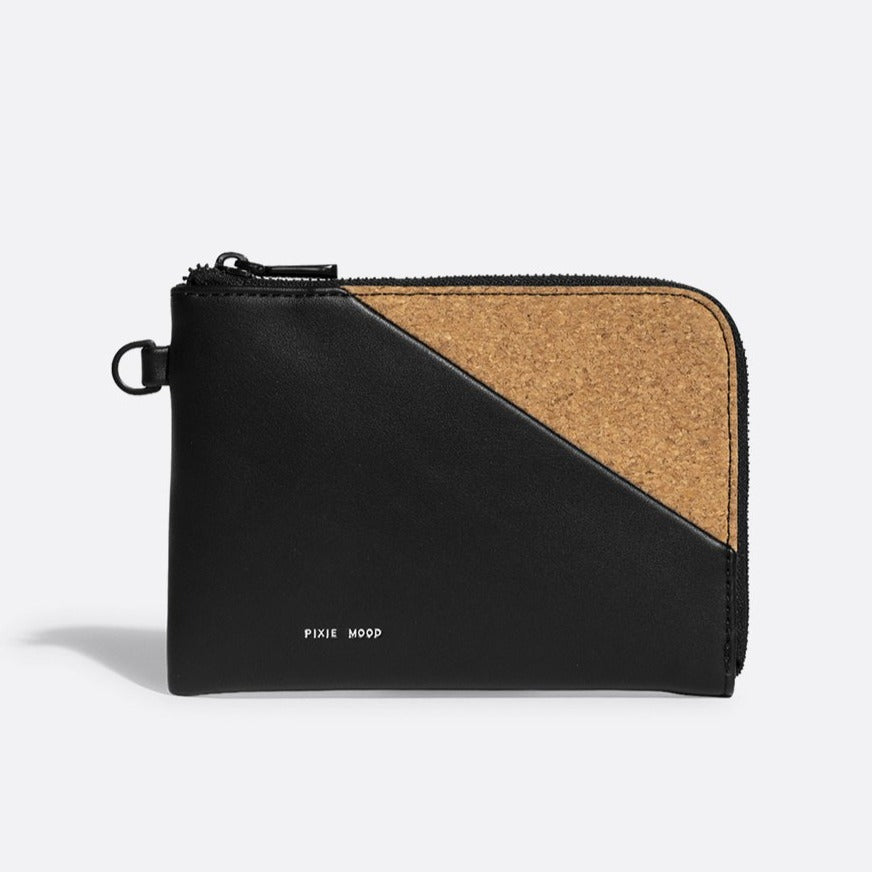 Stacy Wristlet - Black /  Cork