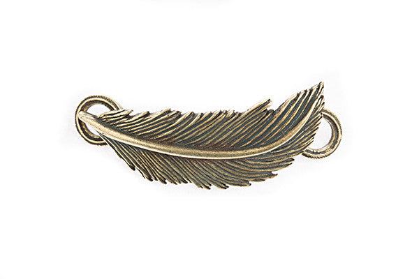 Feather Pendant Brass - Across The Way