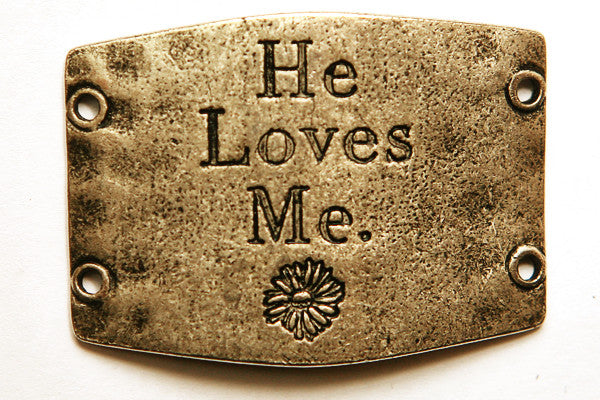 He Loves Me... antique brass - Across The Way