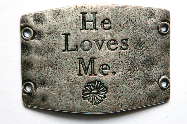 He Loves Me... antique silver - Across The Way