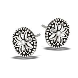 Cutout Flower Medalion Silver Stud