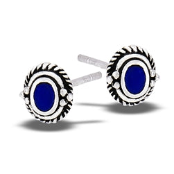 Oval Lapis Braided Granulation Silver Stud