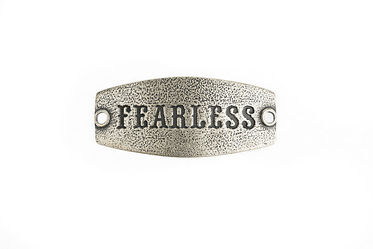 Small sentiment `Fearless` Antique Silver - Across The Way