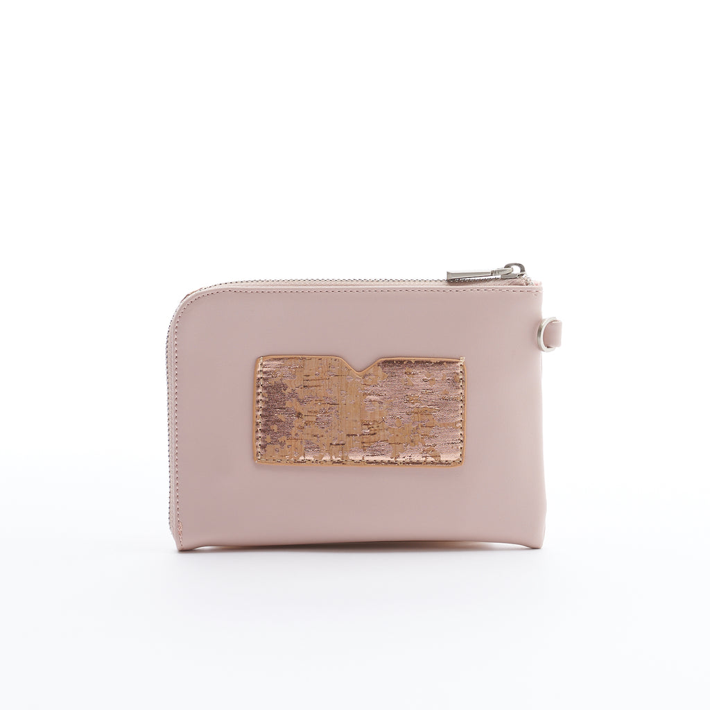 Stacy Wristlet - Rose Metallic/Cork - Across The Way