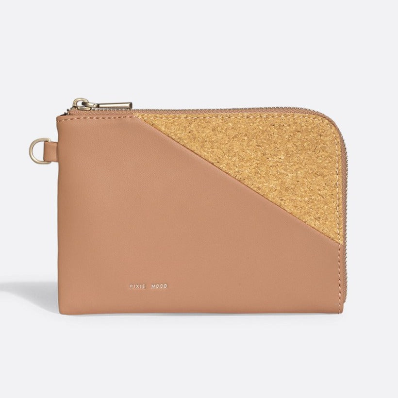 Stacy Wristlet - Apricot / Metallic Rose Cork
