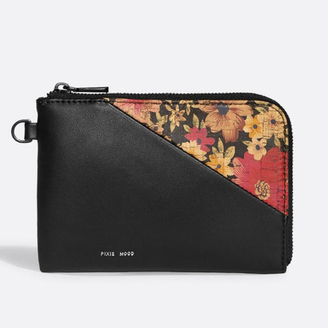 Stacy Wristlet - Black/Dark Floral Cork