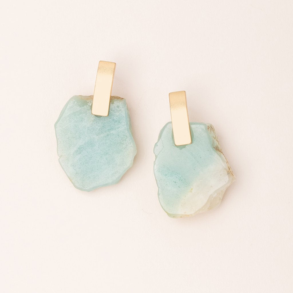 Stone Slice Earring Amazonite Gold