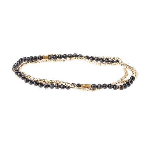 Black Spinel Gold Delicate Wrap - Across The Way