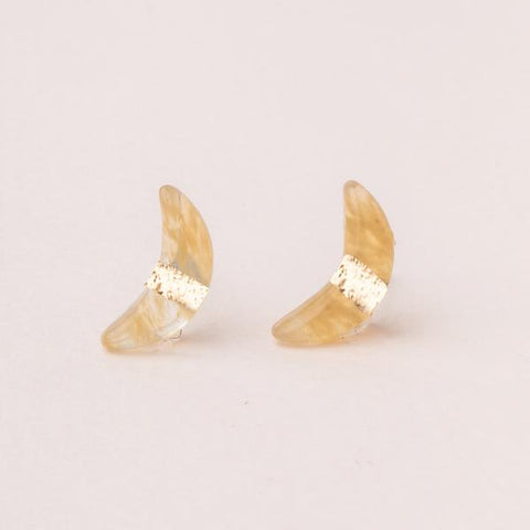 Moon Stud Rose Citrine/Gold