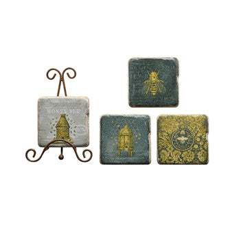Bees Coasters with Stand