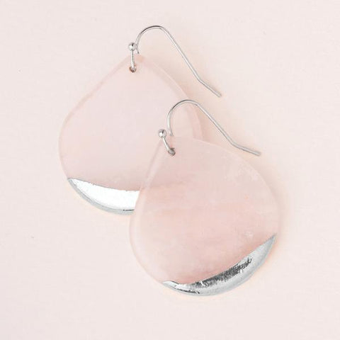 Dipped Teardrop Earring Rose Quartz/Silver - Across The Way