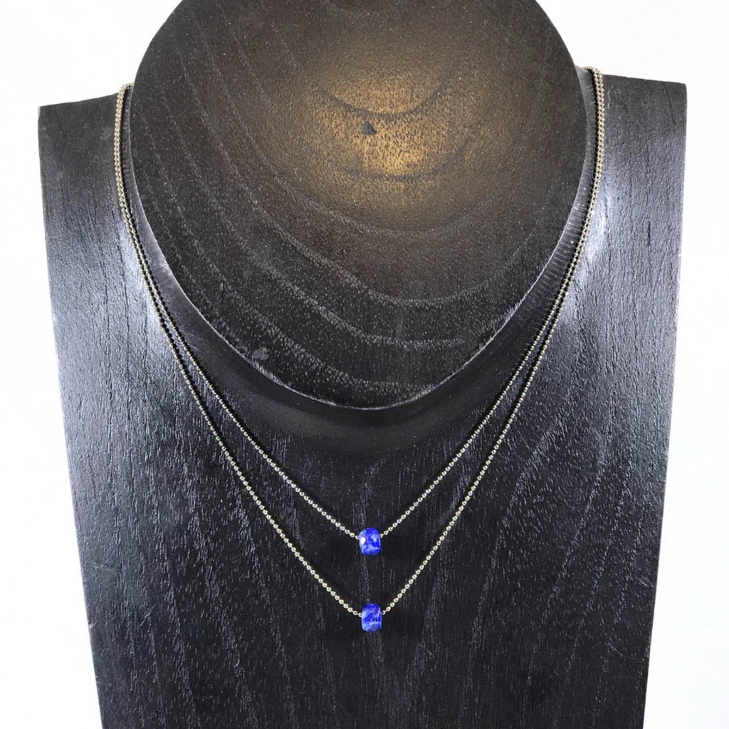 Layered Necklace, Lapis Lazuli 15-17in. Silver