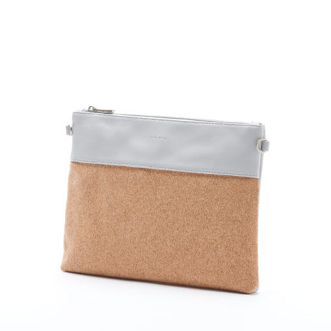 Nicole Pouch Large - Grey/Cork - Across The Way
