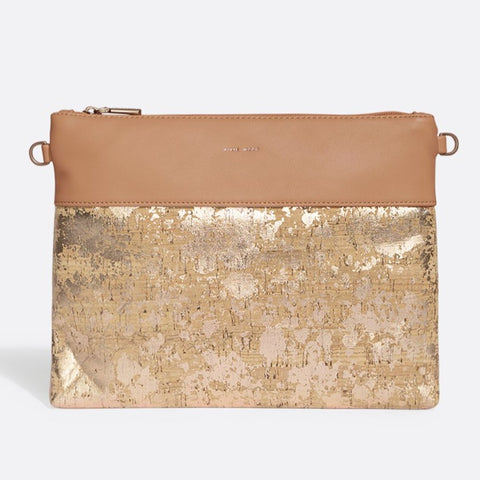 Nicole Pouch Large - Apricot / Metallic Rose Cork