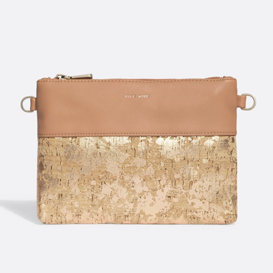 Nicole Pouch Small - Apricot / metallic Rose Cork