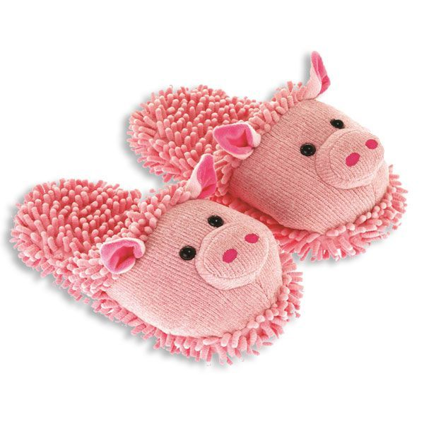 Fuzzy Friend Slippers Pigs New
