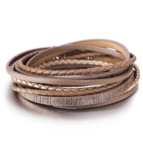 Leather Braided Multi-Layer Leather Bracelets - Across The Way