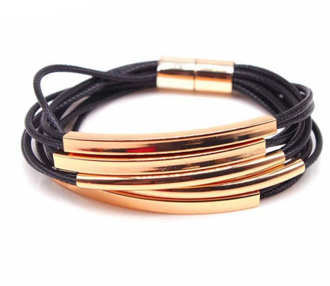 Simple Metal Multi Layer Leather Bracelet - Across The Way
